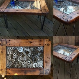 Massive metal wood table No1